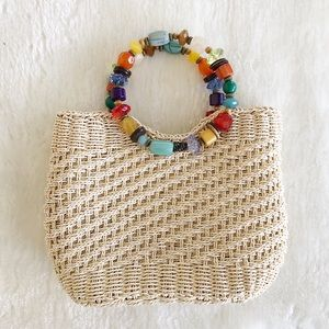 Cappelli Straworld Straw Bag with Beaded Handle